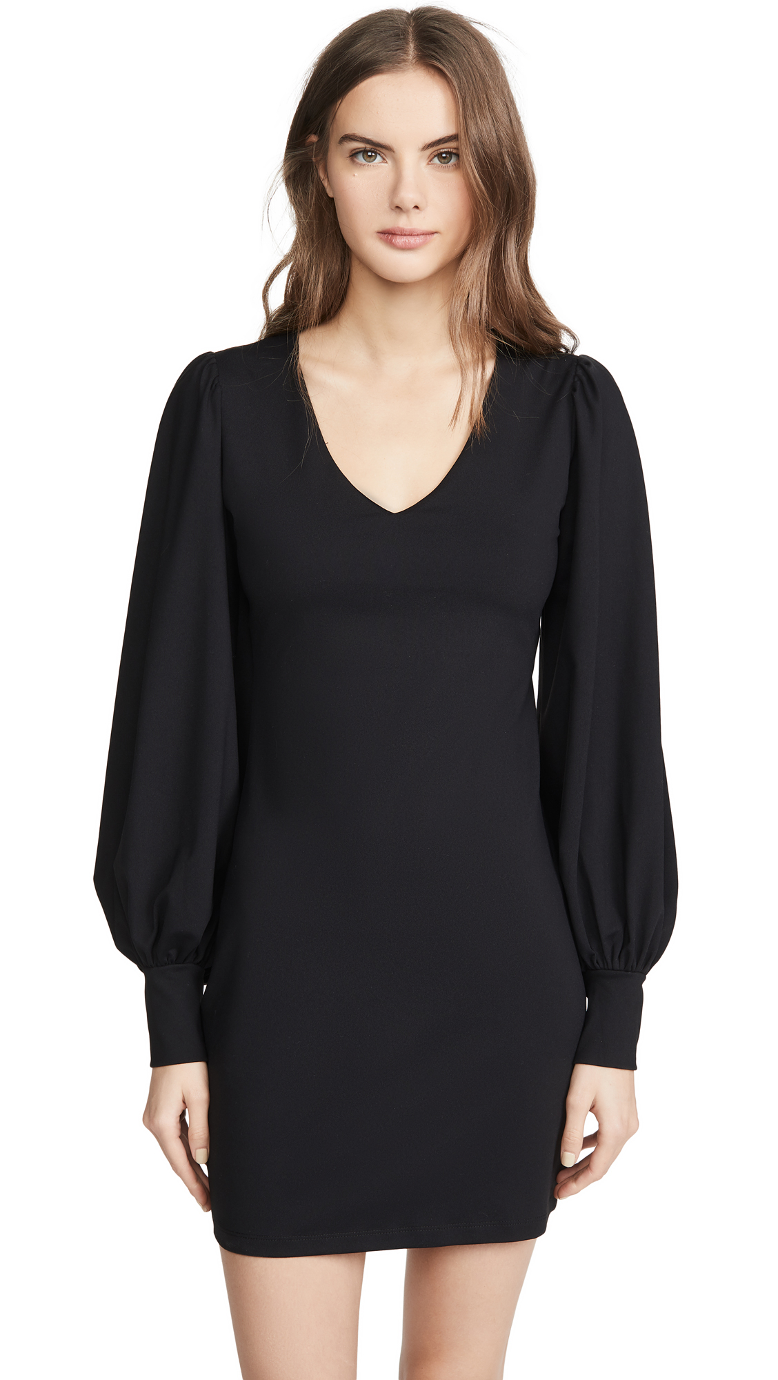 Susana Monaco V Neck Gathered Sleeve Dress - 50% Off Sale