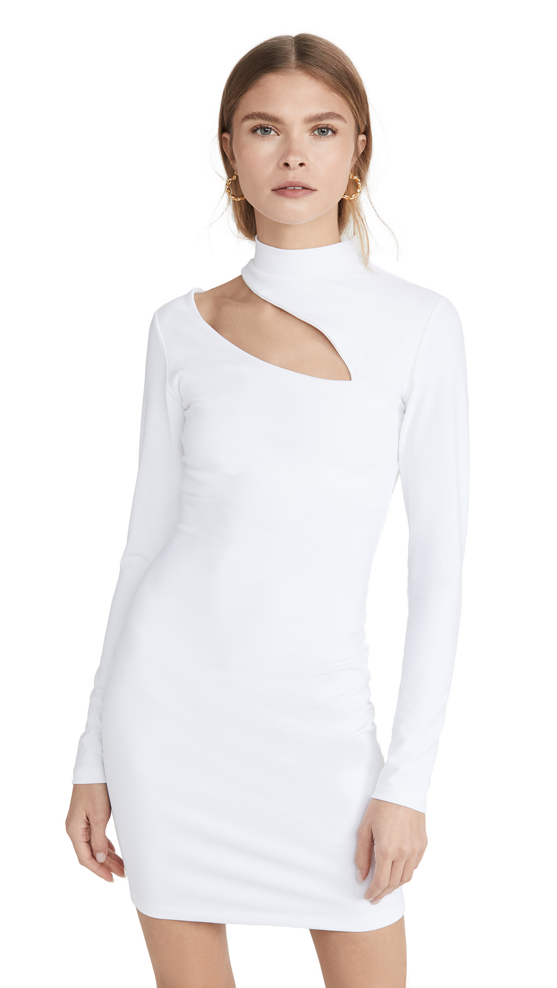 Susana Monaco Long Sleeve Mock Neck Slash Front Dress - 50% Off Sale