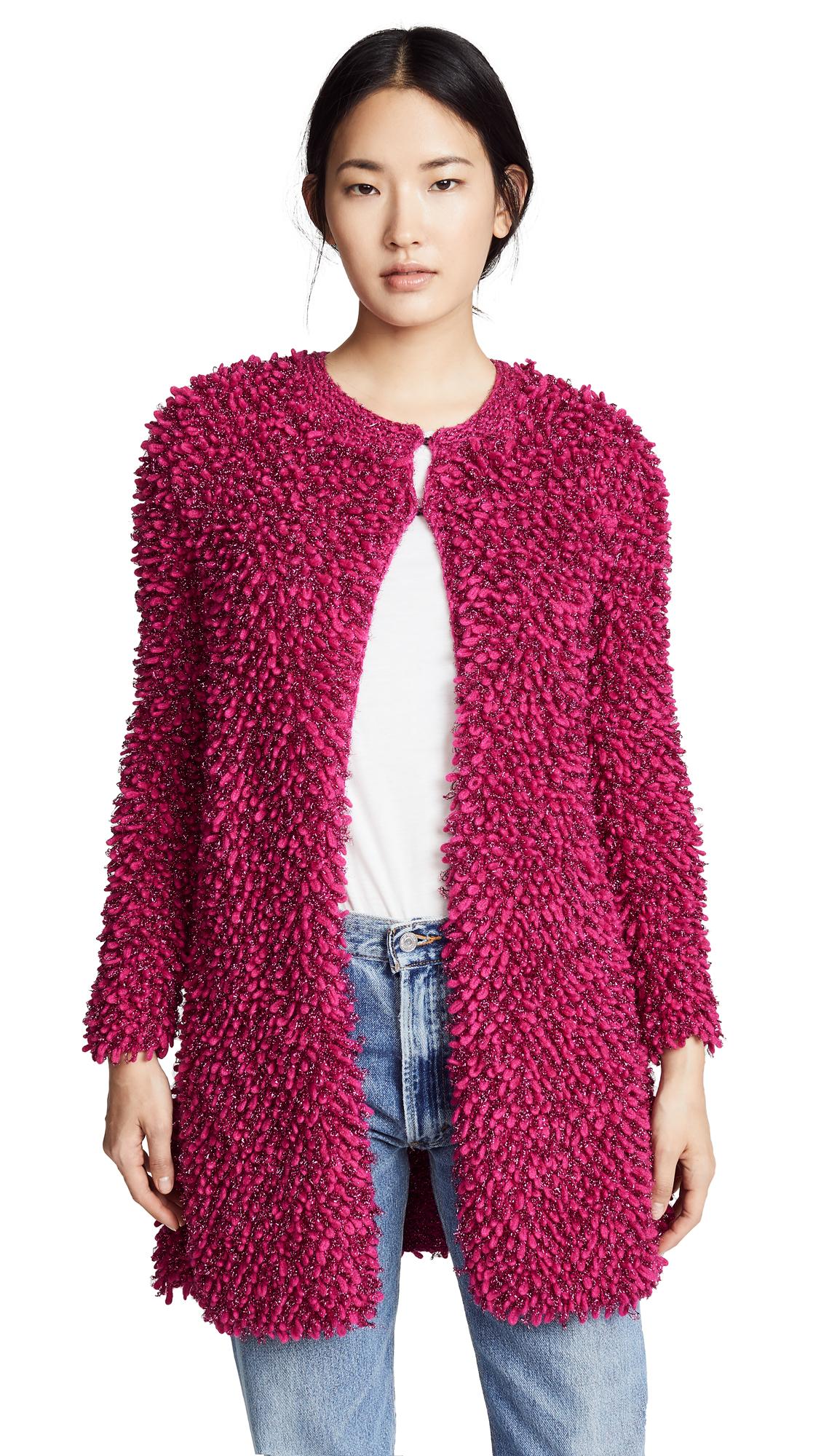 SPENCER VLADIMIR Loopy Cardigan in Pink Metallic
