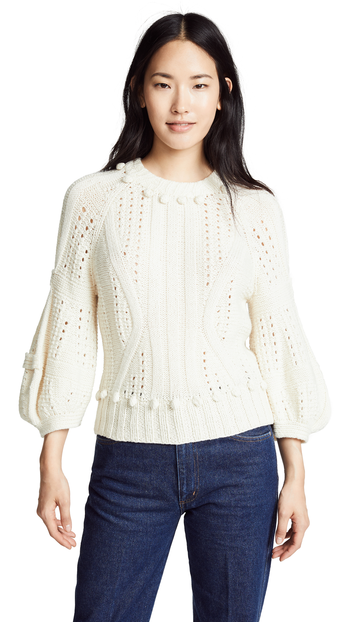 SPENCER VLADIMIR Cello Cashmere Sweater in Ivory