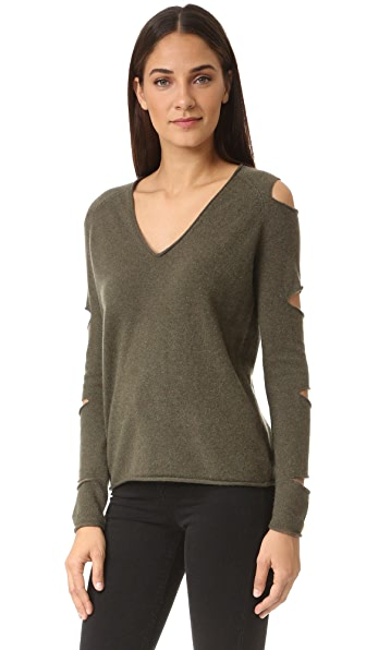 360 SWEATER Tyrone Cutout Cashmere Sweater In Loden