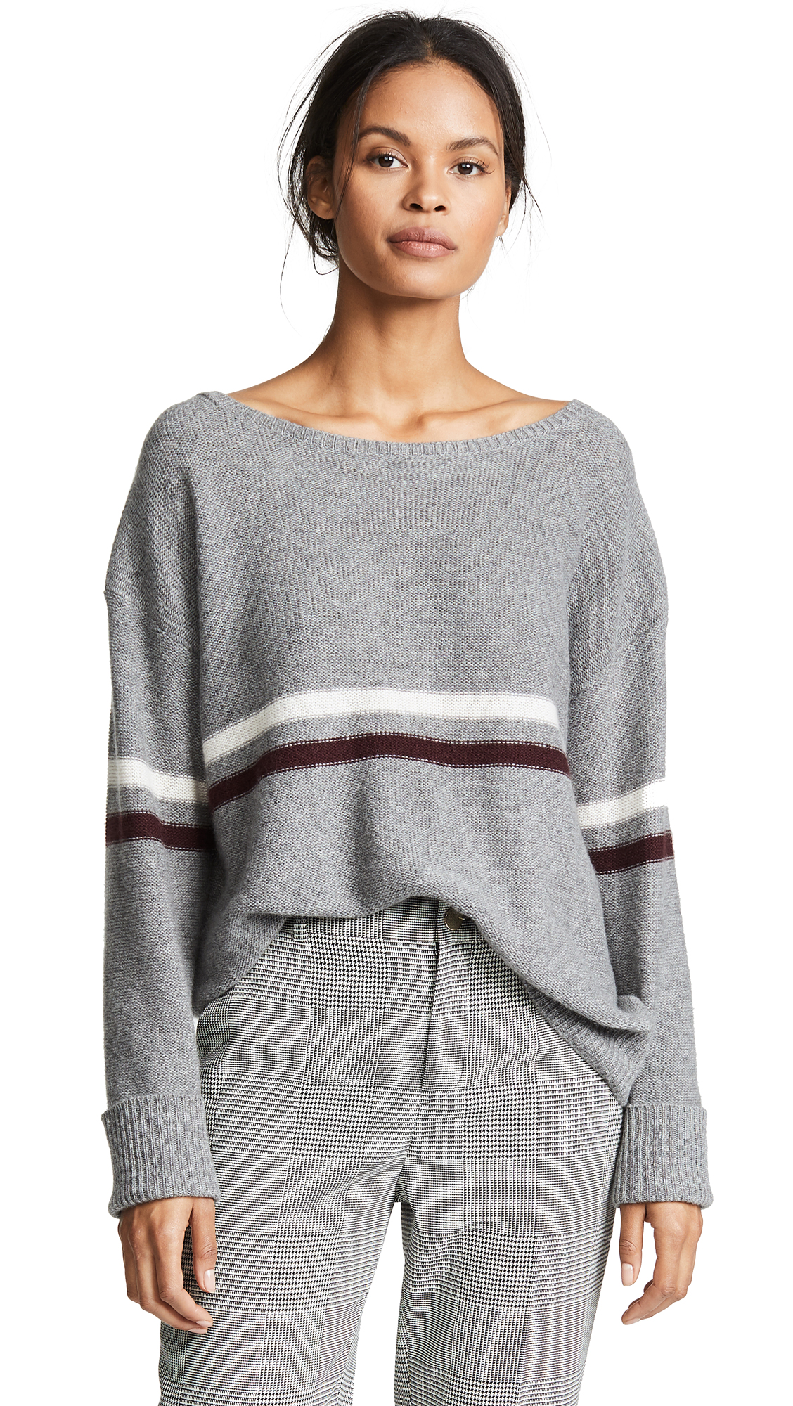 360 SWEATER Remington Cashmere Sweater In Mid Heather Grey
