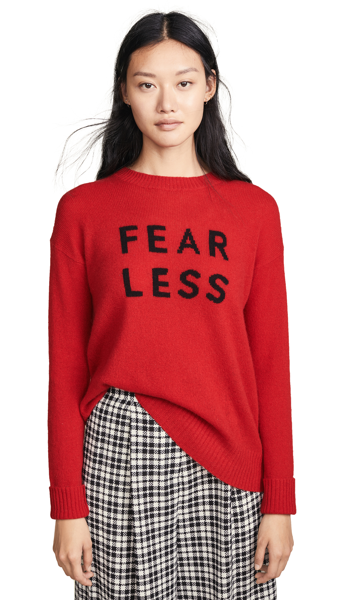 Fear Less Cashmere Sweater, Ruby/Black