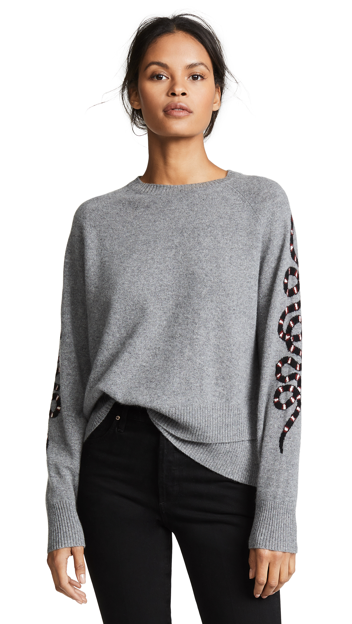 360 SWEATER Cashmere Serpent Sweater In Mid Heather Grey/Multi