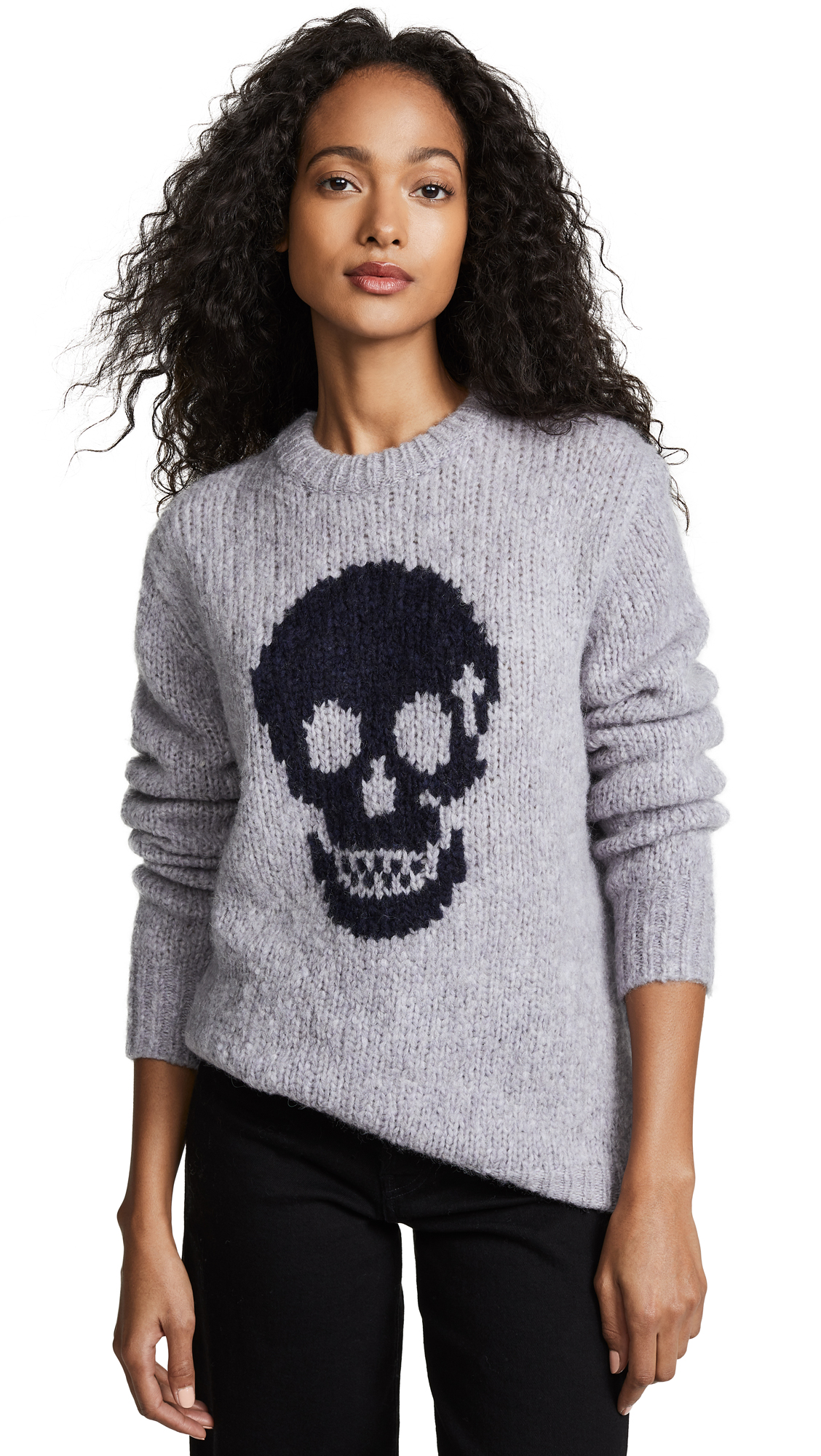 360 SWEATER Madonna Wool Sweater In Lilac/Navy Skull