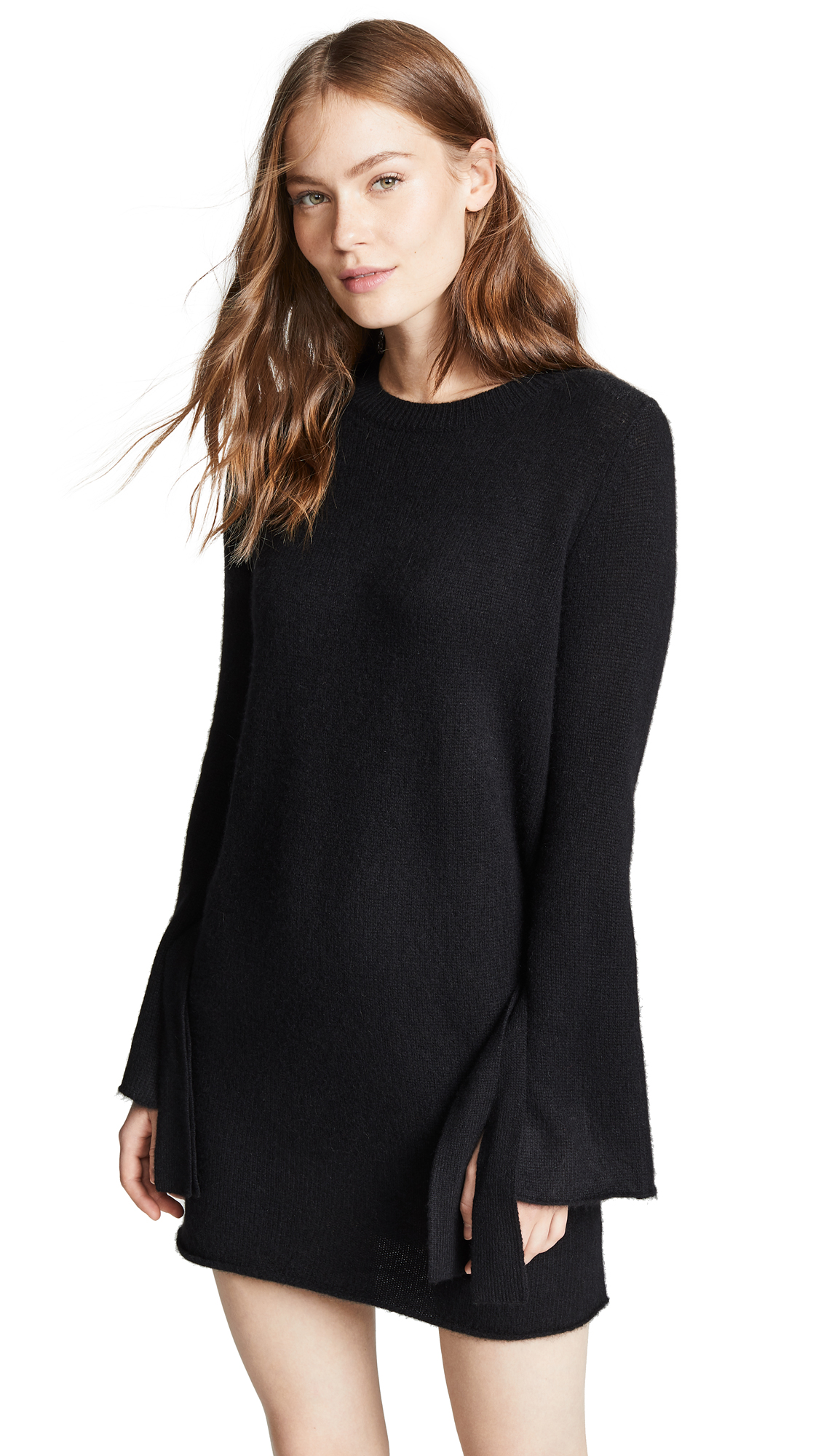 360 SWEATER Rowyn Cashmere Sweater Dress with Tie Sleeve - Black