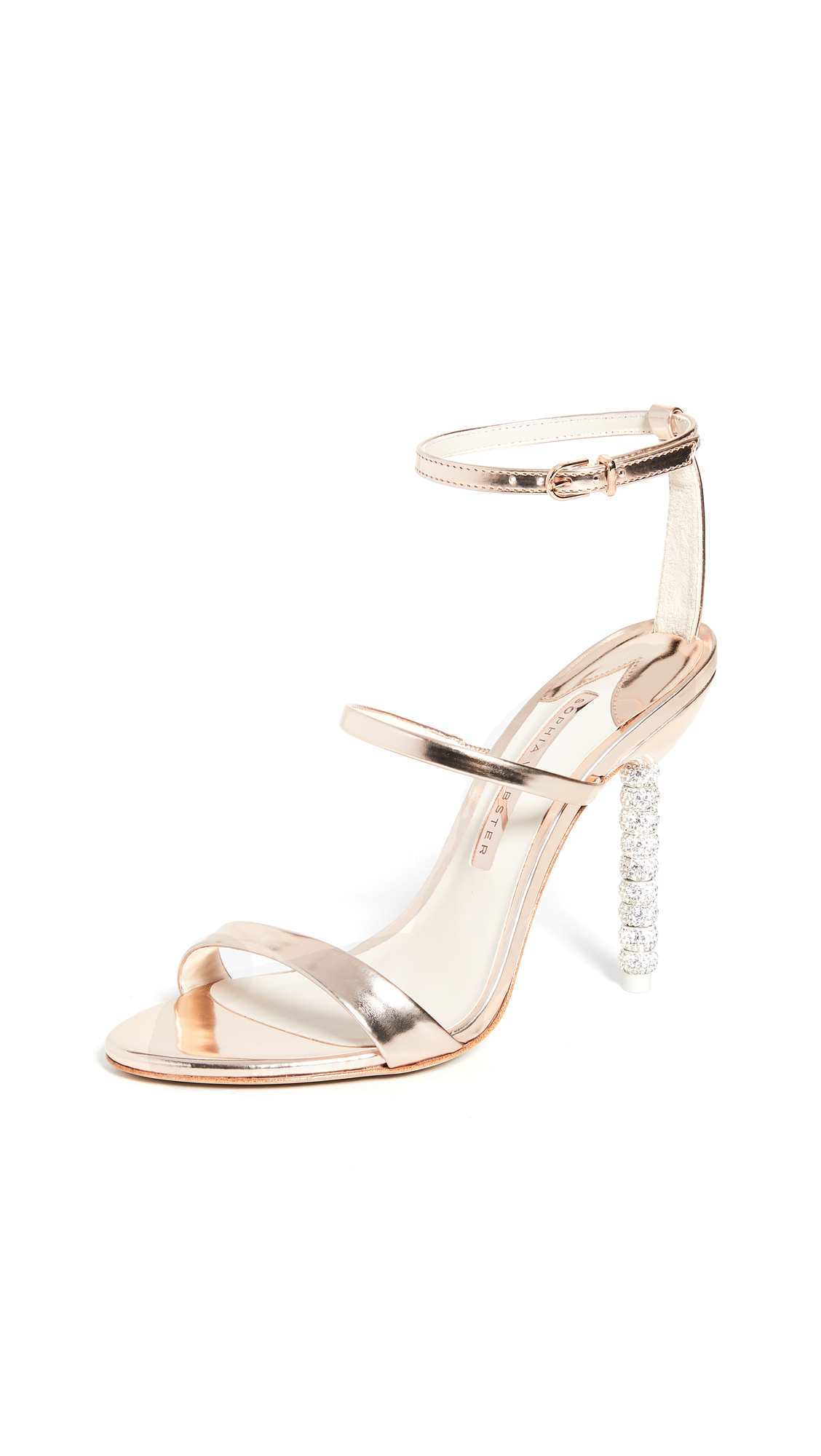 Sophia Webster Rosalind Crystal Sandals In Rose Gold