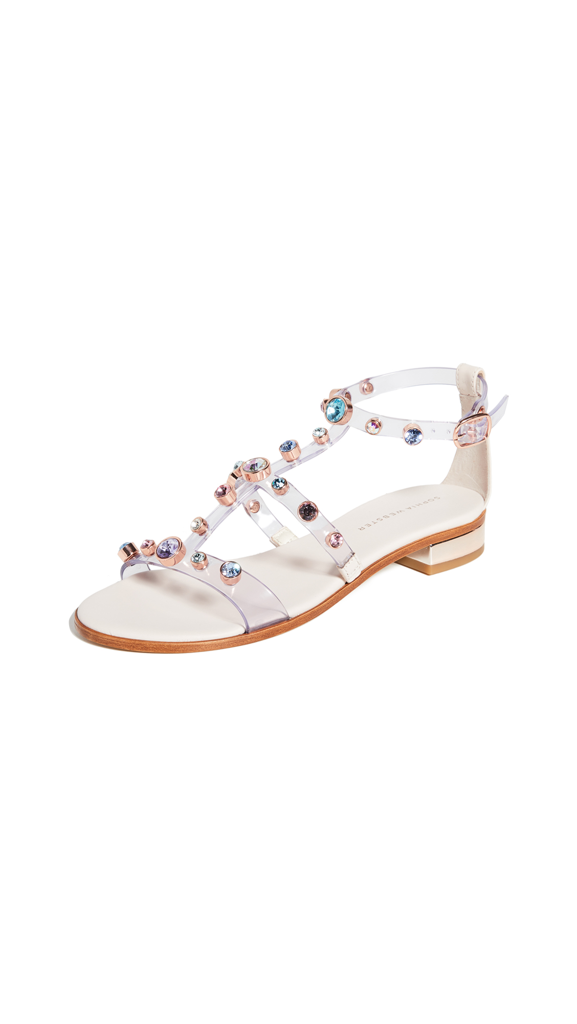 Sophia Webster Dina Gem Flat Sandals In Dusty/pastel