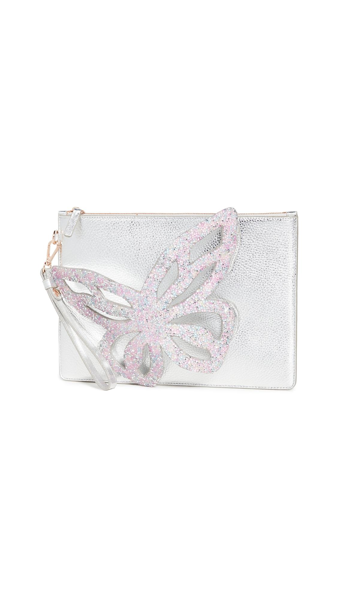 Sophia Webster Flossy Butterfly Embellished Pouchette In Silver