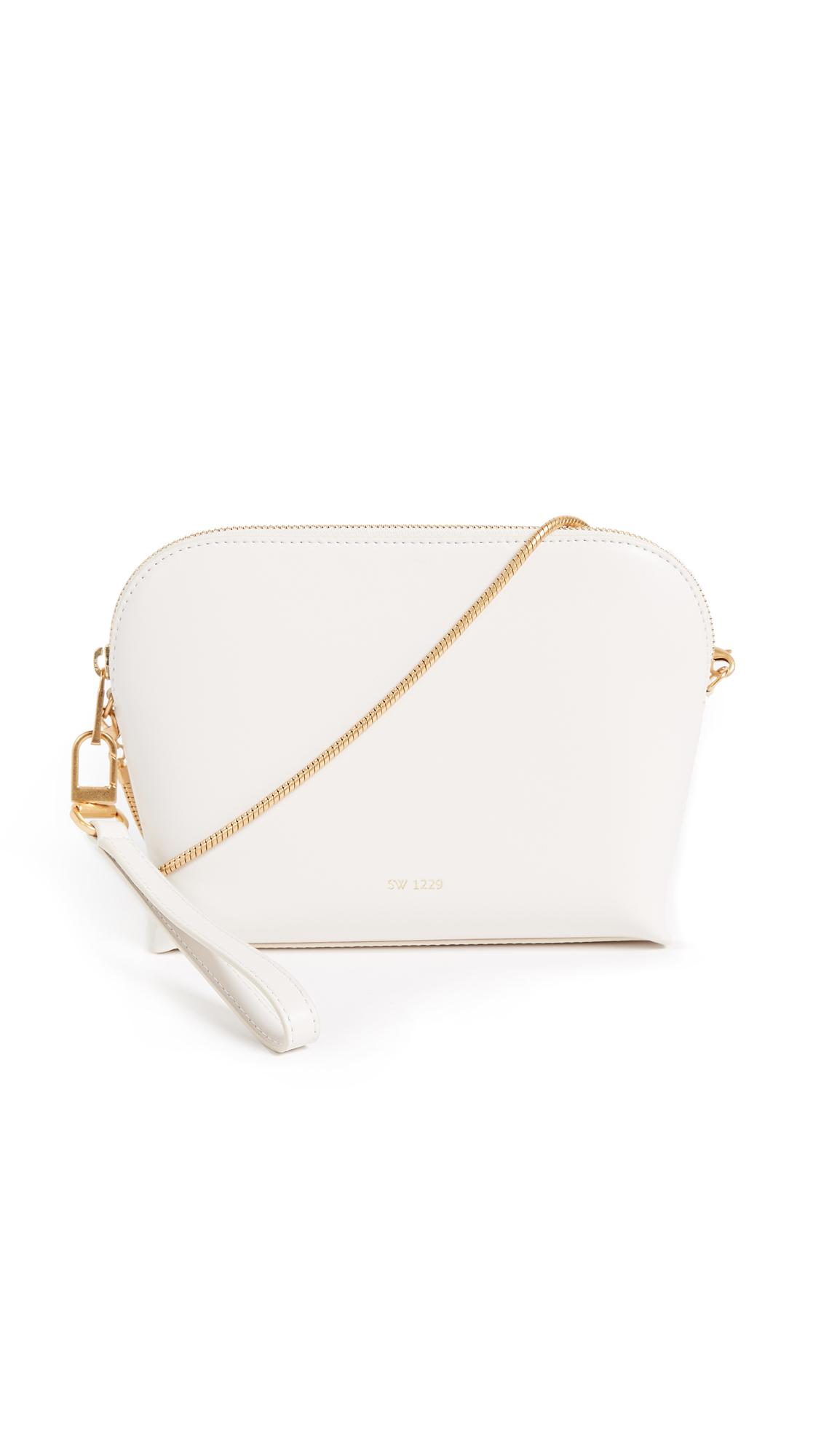 Sarah White Convertible Top Zip Shoulder Bag - Bone