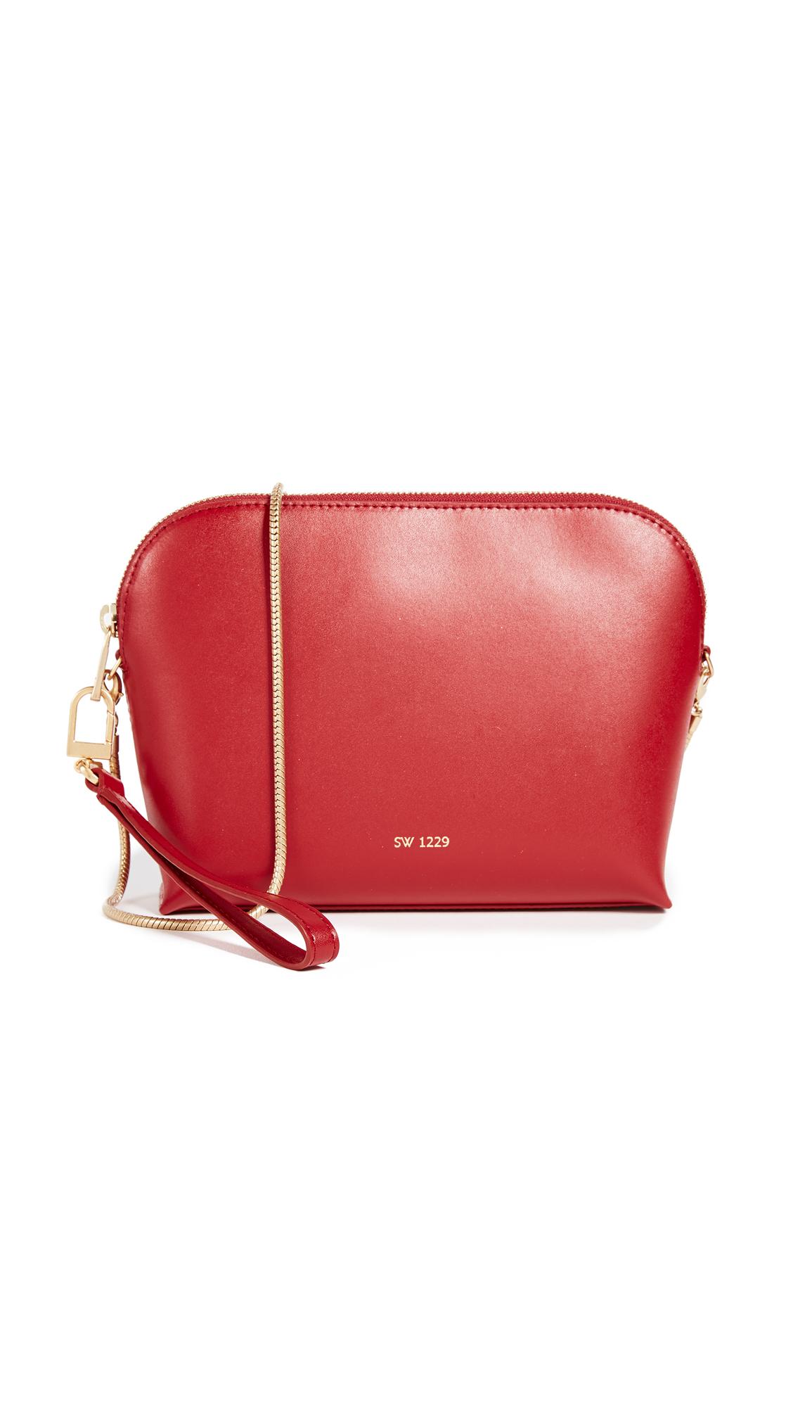 Sarah White Convertible Top Zip Shoulder Bag - Red