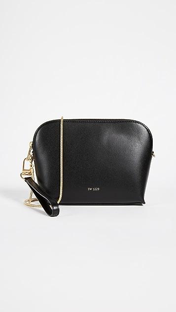 Sarah White Convertible Top Zip Shoulder Bag