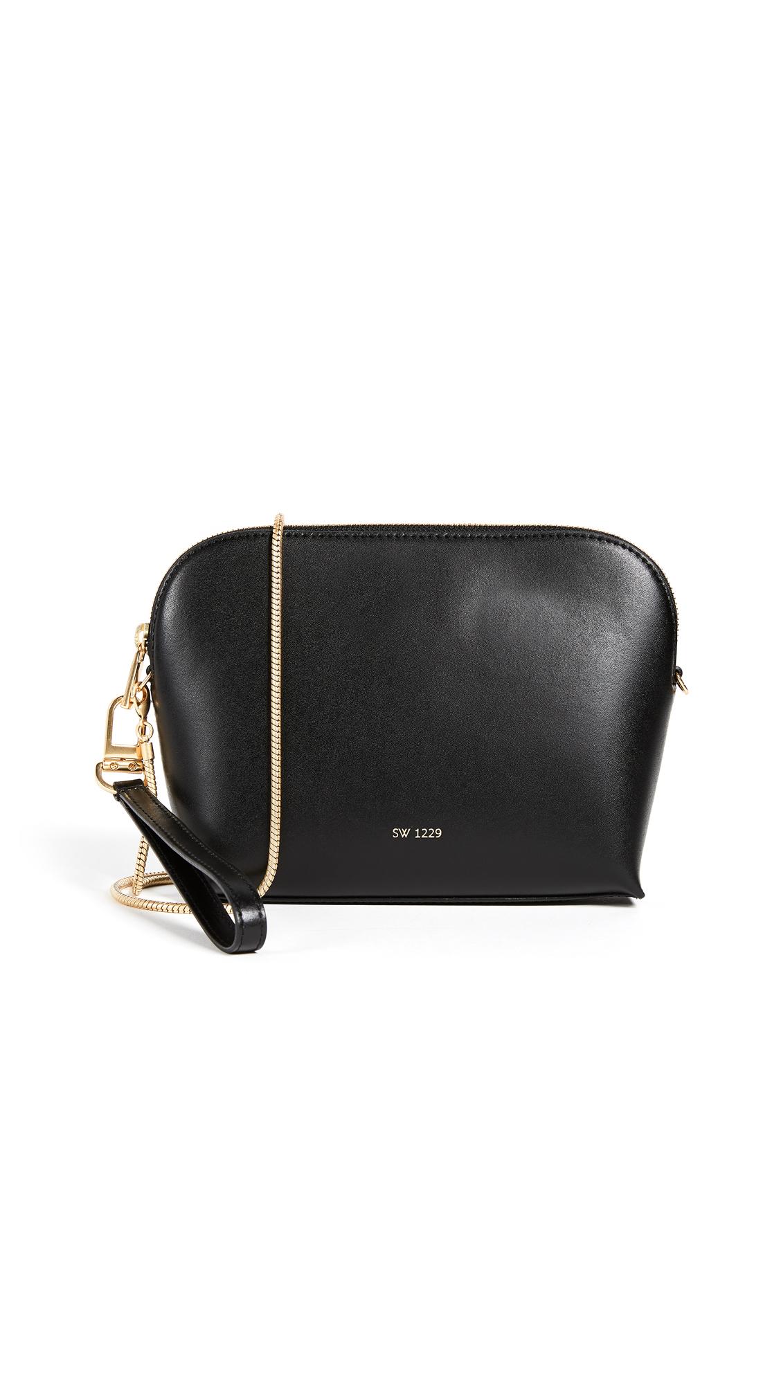 Sarah White Convertible Top Zip Shoulder Bag - Black