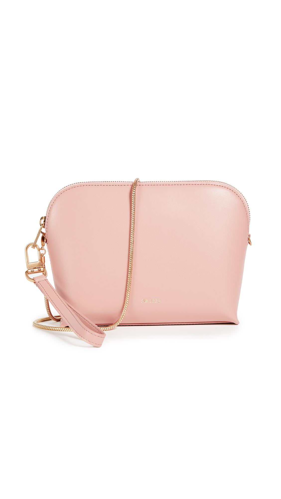 Sarah White Convertible Top Zip Shoulder Bag - Dusty Rose