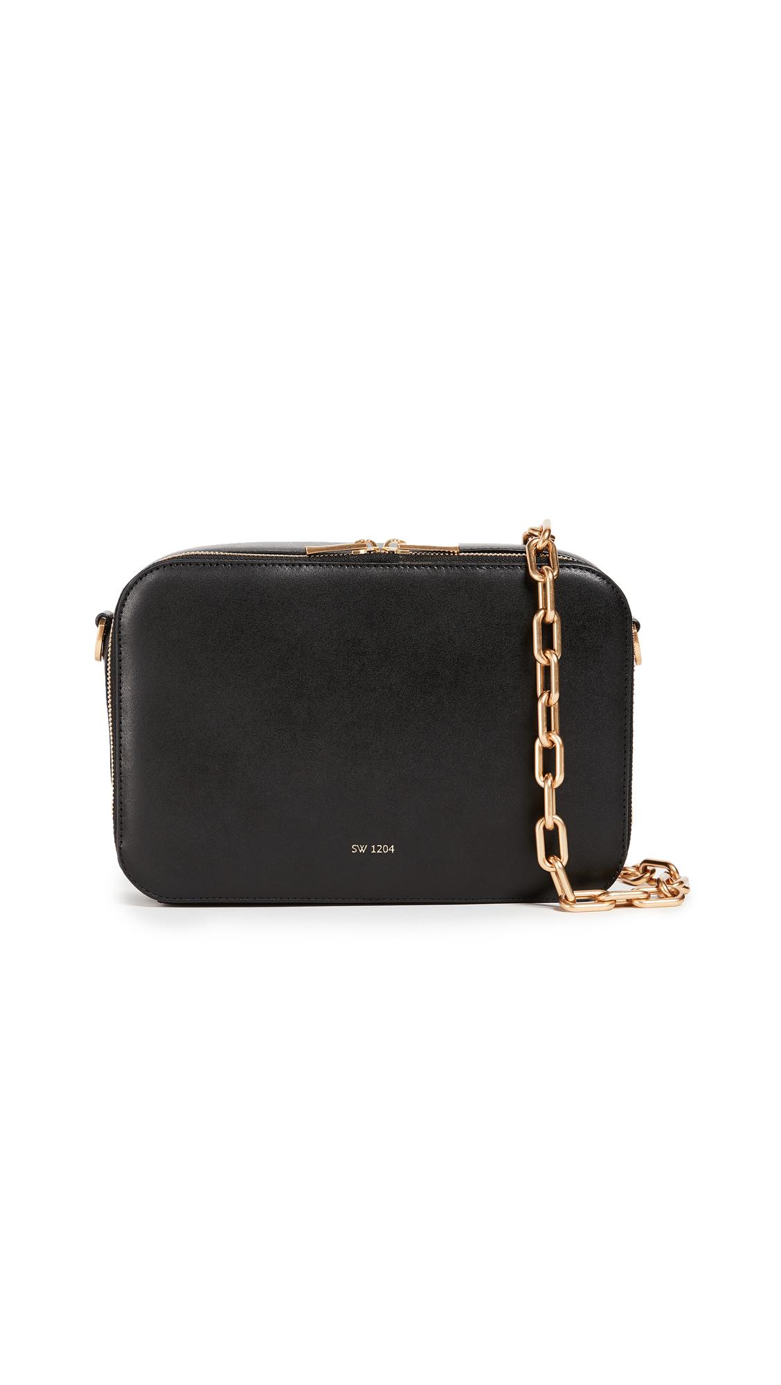 Sarah White Double Zip Cross Body Bag - Black