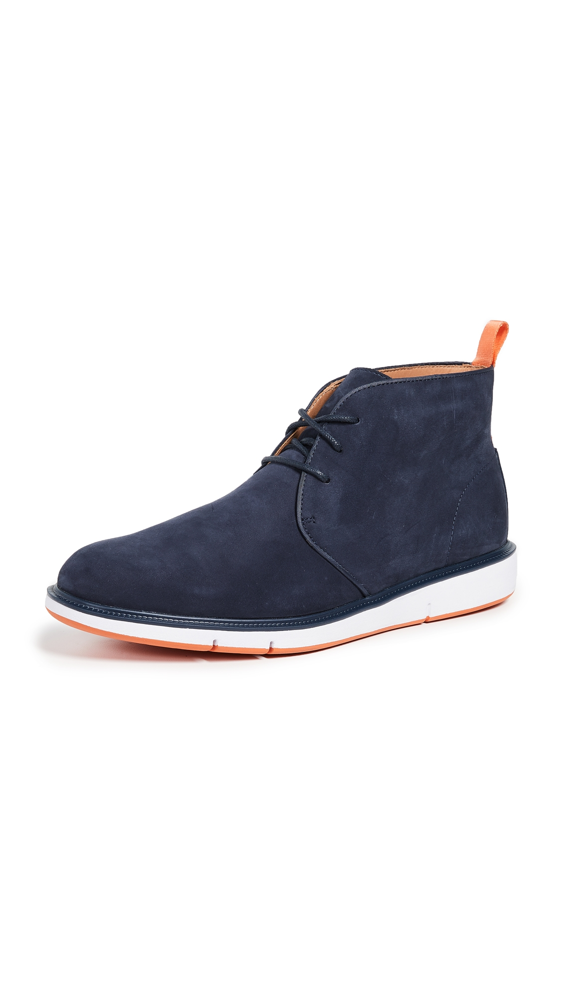 SWIMS Men'S Motion Suede Chukka Boots in Navy/Orange