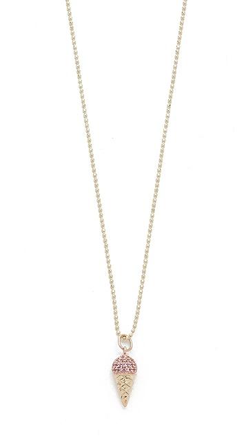 Sydney Evan 14k Gold Pink Sapphire Ice Cream Cone Necklace