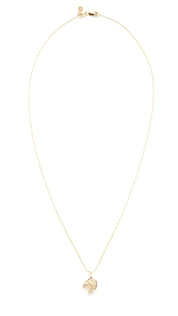 Sydney Evan 14k Gold Fortune Cookie Necklace