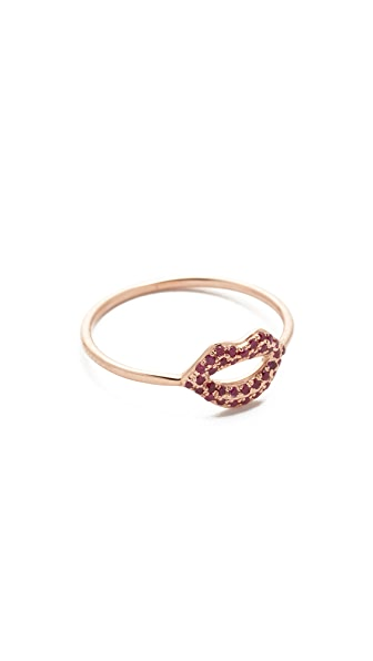 Sydney Evan 14k Rose Gold Lip Ring - Red