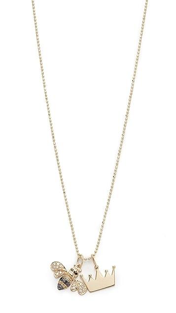 Sydney Evan 14k Gold Queen Bee Charm Necklace