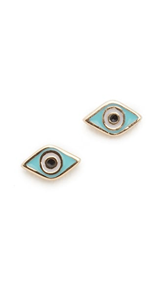Sydney Evan Mini Evil Eye Studs - Yellow Gold