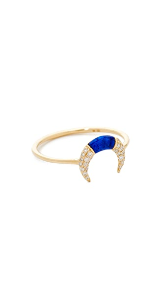 Sydney Evan Small Pave Inverted Crescent Ring In Gold