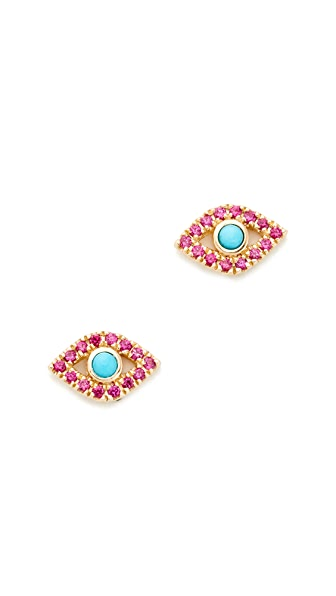 Sydney Evan Small Bezel Evil Eye Stud Earrings - Gold