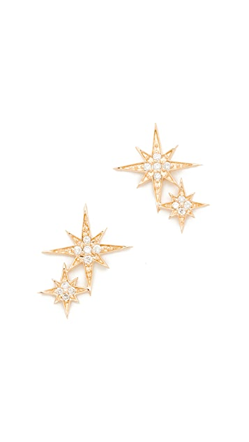 Sydney Evan 14k Gold Double Starburst Studs
