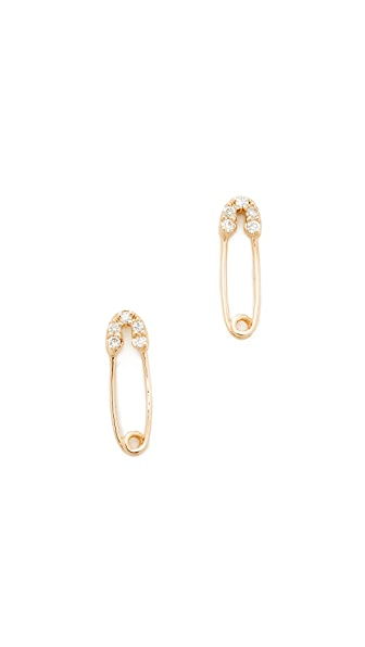 Sydney Evan 14k Gold Safety Pin Stud Earrings In Gold