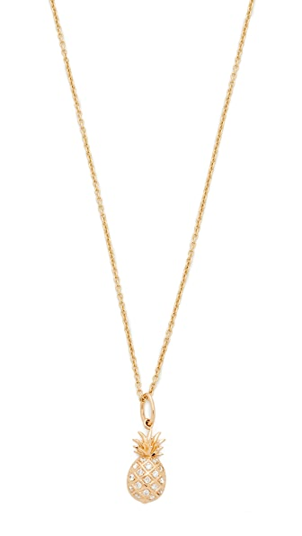 Sydney Evan Pave Pineapple Charm Necklace - Gold