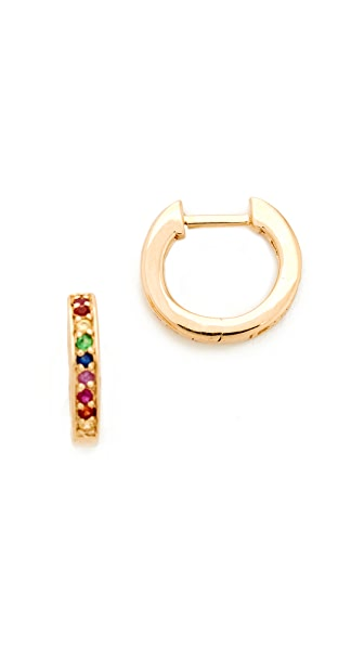 Sydney Evan 14k Gold Small Rainbow Huggie Hoop Earrings - Multi