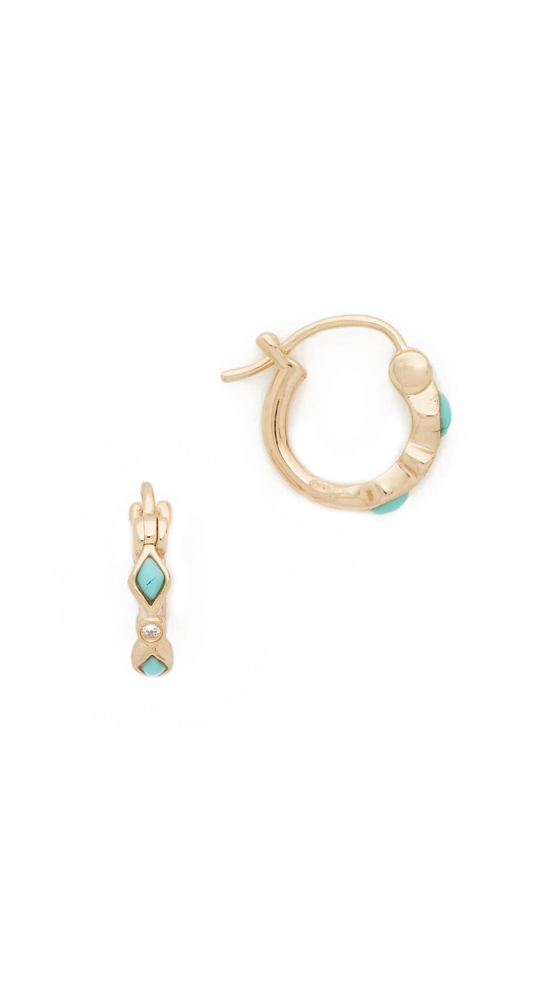 Sydney Evan Turquoise Diamond Bezel Huggie Hoop Earrings In Turquoise