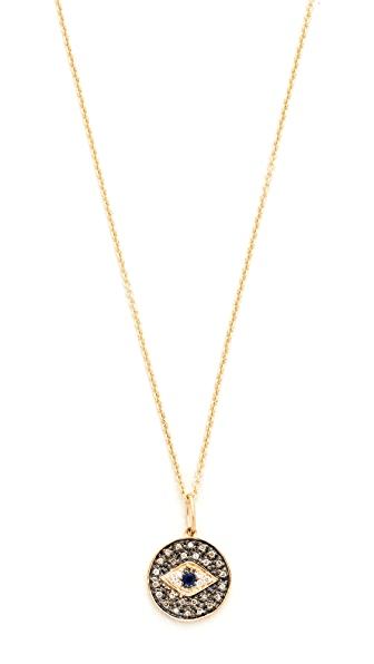 Sydney Evan Small Eye Disc Necklace - Gold