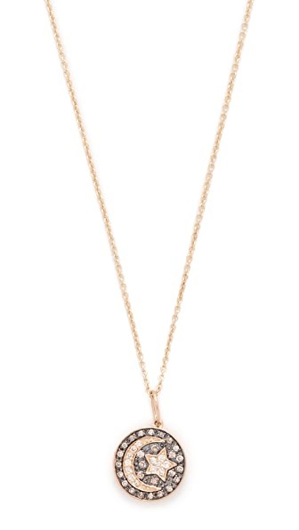 Sydney Evan Small Pave Moon and Star Medallion Necklace - Blue/Gold
