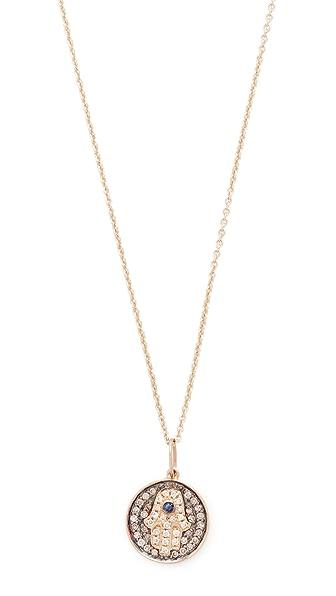 Sydney Evan Small Hamsa Medallion Charom Necklace - Black/Gold