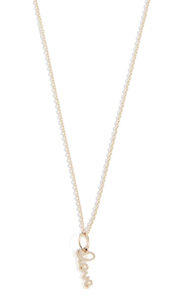 Sydney Evan Tiny Pure Love Charm Necklace In Gold
