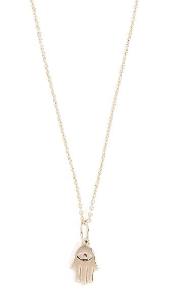 Sydney Evan Tiny Pure Hamsa Charm Necklace In Gold