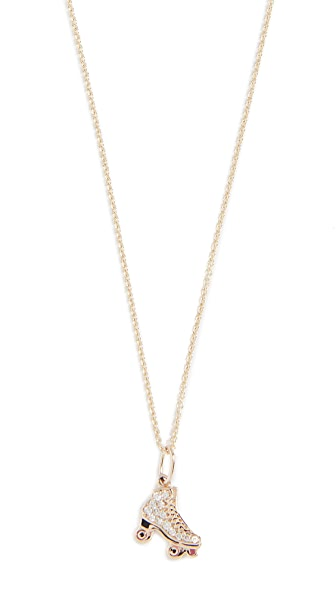 Sydney Evan Roller Skate Charm Necklace In Gold