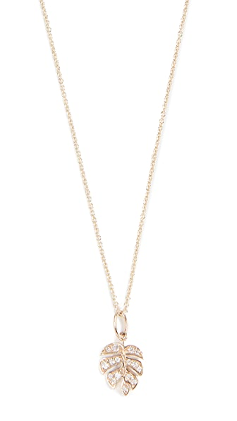 Sydney Evan Small Monstera Leaf Charm Necklace