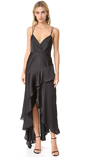 Talulah Wrapped In Ruffles Maxi Dress - Black
