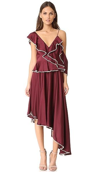 Talulah Orlando Asymmetrical Dress - Burgundy