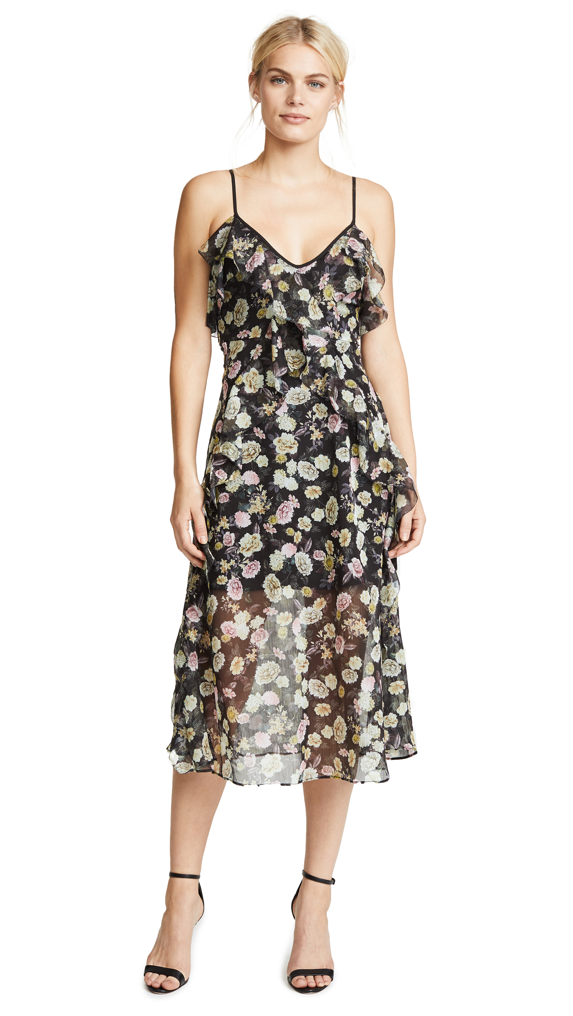 TALULAH PLAYFUL FLOUNCE MIDI DRESS