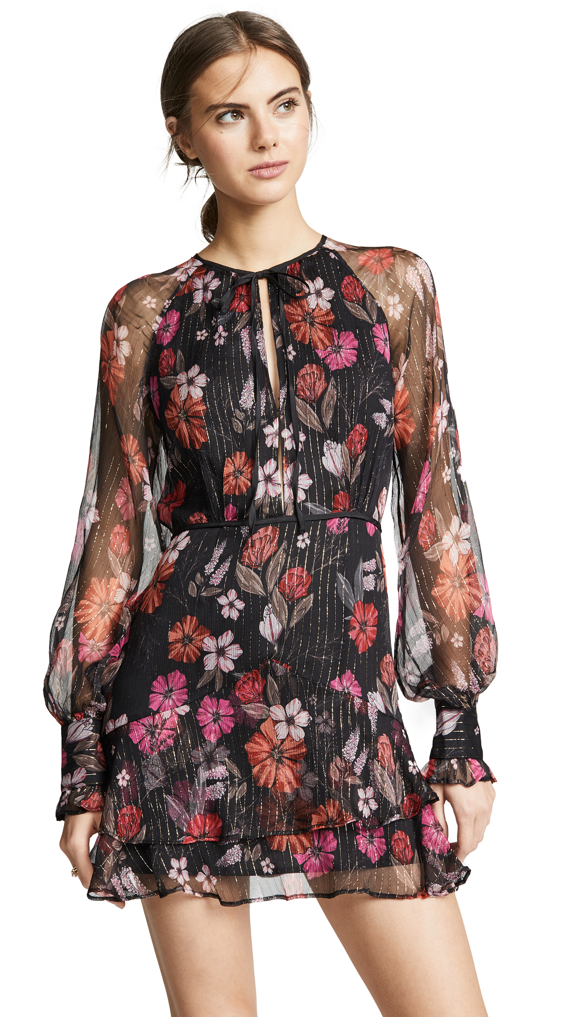 La Maison Talulah Wild Bloom Long Sleeve Mini Dress in Winter Floral Print