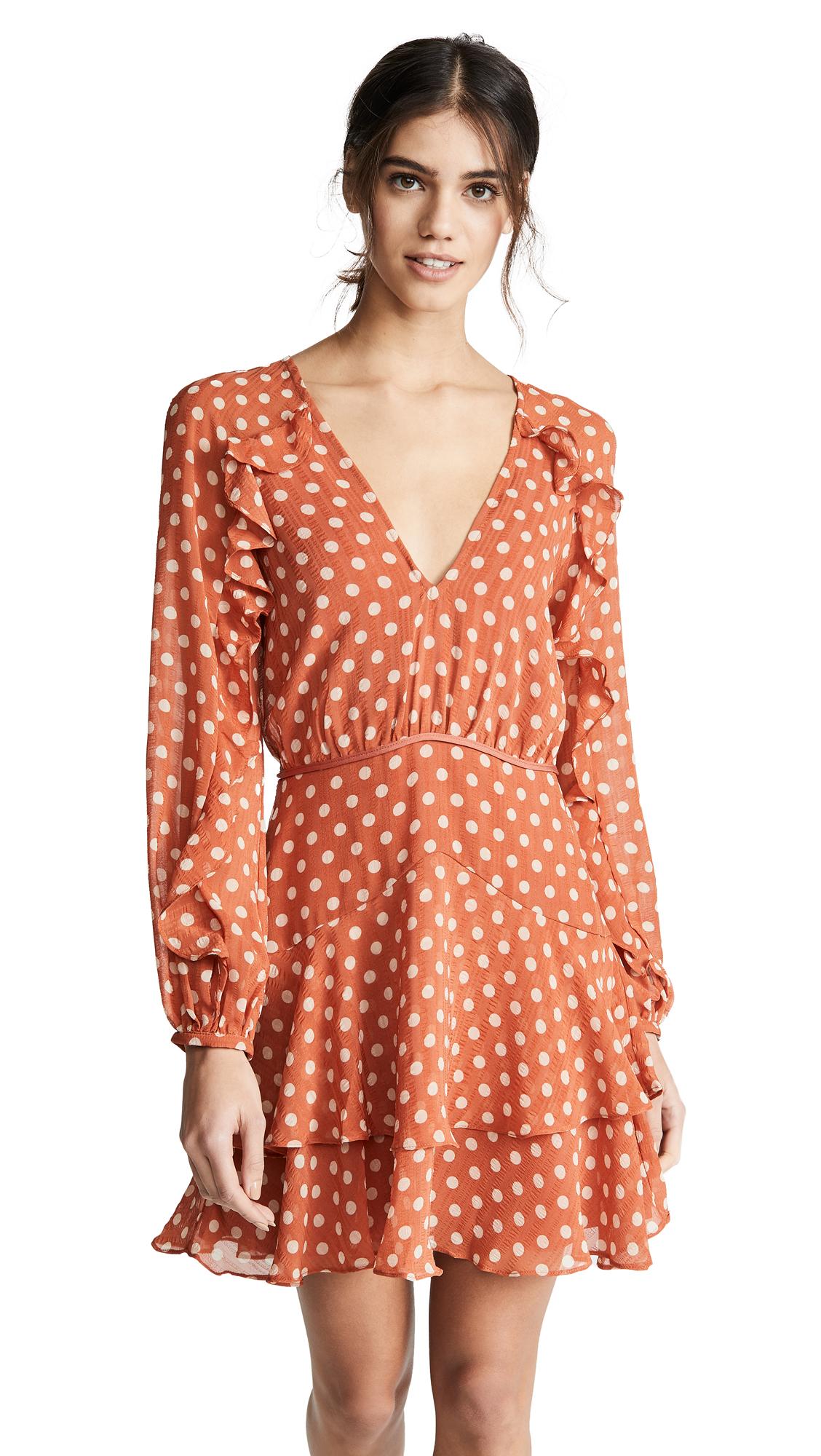 La Maison Talulah Love Token Polka-Dot Ruffle Short Dress in Salmon Spot