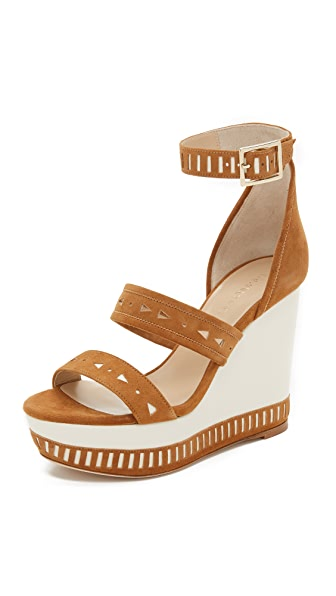Tamara Mellon Zabriskie Suede Perforated Wedges - Tan