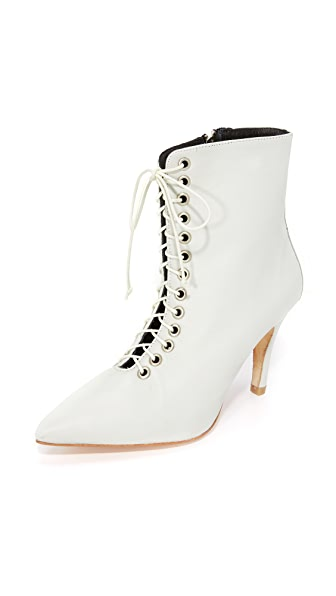 The Archive Eggshell White The Delancey Lace Up Booties