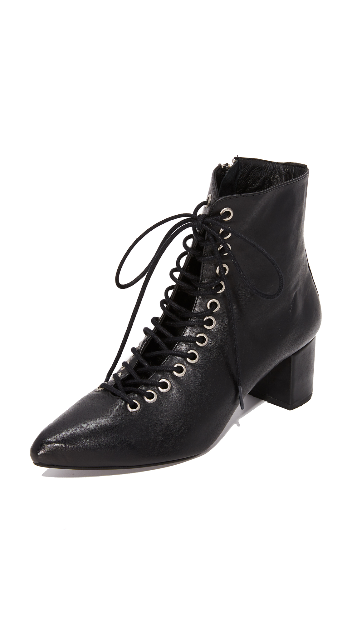 The Archive The Jane Lace Up Booties - Black