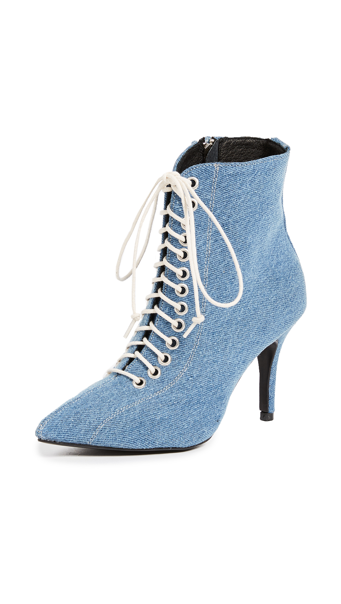 The Archive Delancey Lace Up Booties - Denim