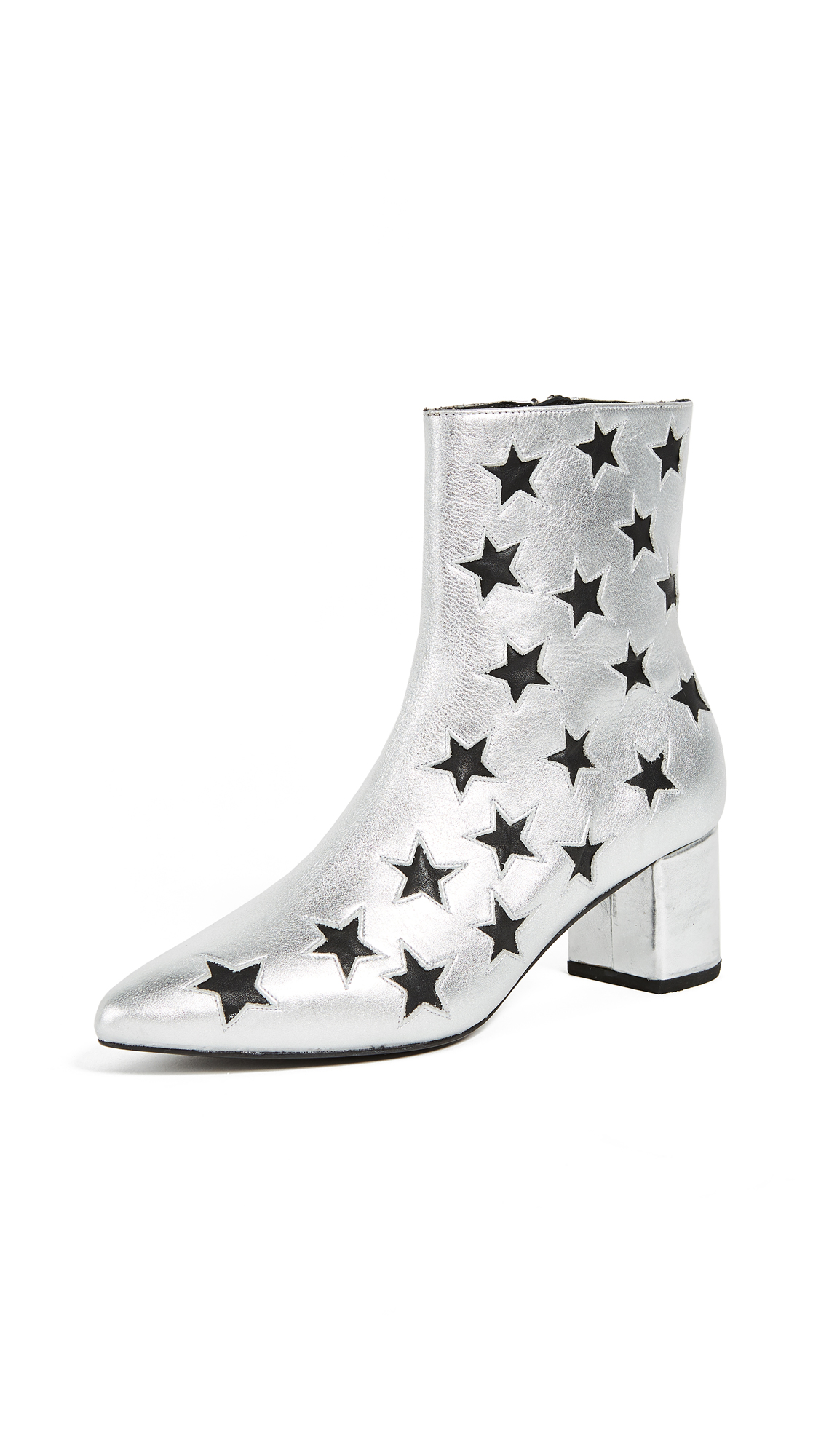 The Archive Madison Mid Zip Booties - Silver/Black