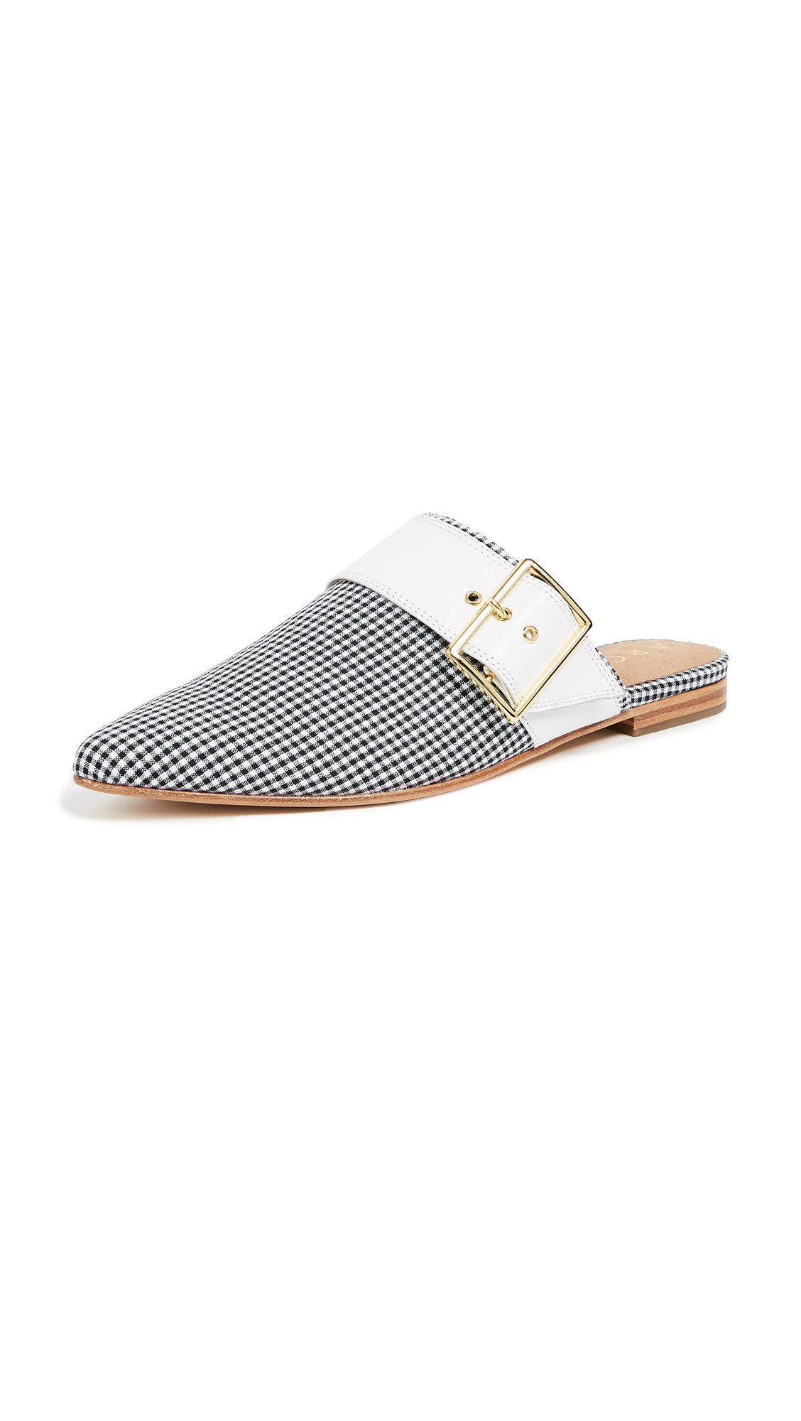 The Archive Bond Buckle Mules - Gingham